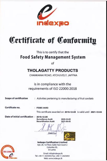 We are ISO 22000, Certified Company
